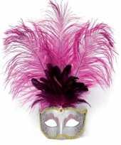 Zilver oog masker met roze veren